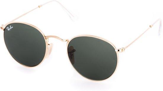 Ray-Ban RB3447 001 - Round Metal - zonnebril - Goud / Groen Klassiek G-15 - 47mm