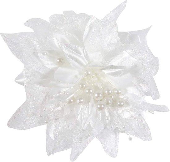 Haarbloem parelkralen wit