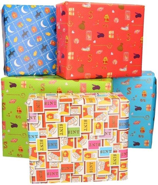 5x Rollen XL Sinterklaas kadopapier diverse gekleurde prints 2,5 x 0,7 meter op rol 70 gram - Luxe papier kwaliteit cadeaupapier/inpakpapier