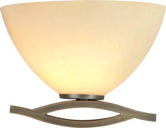 Steinhauer Capri - Wandlamp - 1 lichts - Brons - Crème albast glas