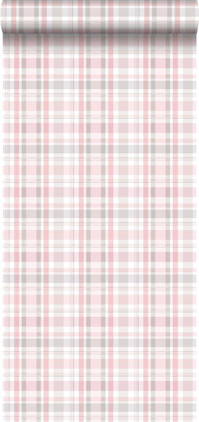 ESTAhome behang ruiten licht roze