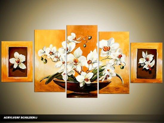 bol.com | Acryl Schilderij Woonkamer | Oranje, Geel, Wit | 150x70cm ...