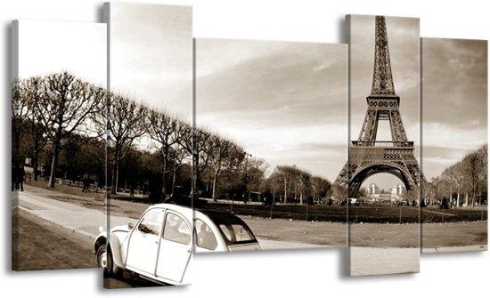 Schilderij | Canvas Schilderij Steden, Parijs | Sepia | 120x65cm 5Luik | Foto print op Canvas