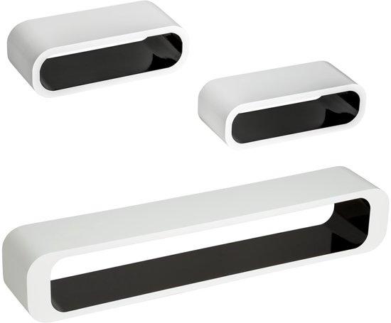 set van 3 Wandplanken Heike hoogglans zwart/ wit 401585