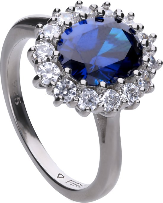 Diamonfire - Zilveren ring met steen Maat 17.5 - Ovaal Blauw - The Royal - Insp by Kate