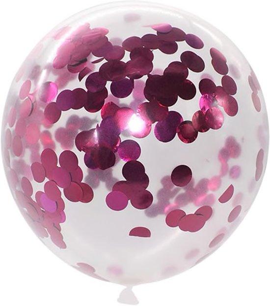 Set van 5 Confetti Ballonnen | Paarse Metallic Confetti | 30 cm Valentinaa