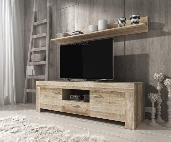 Meubella Tv Meubel Sonia Wandplank Grijs Eiken 155 Cm