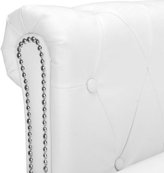 vidaXL Bank Chesterfield-stijl L-vormig kunstleer wit