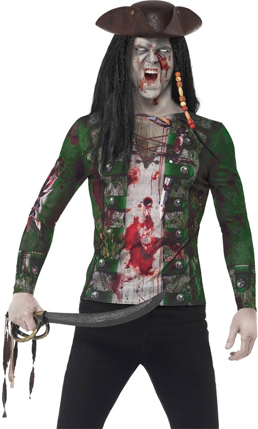 Zombie Pirate T-Shirt Green with Sublimation Print
