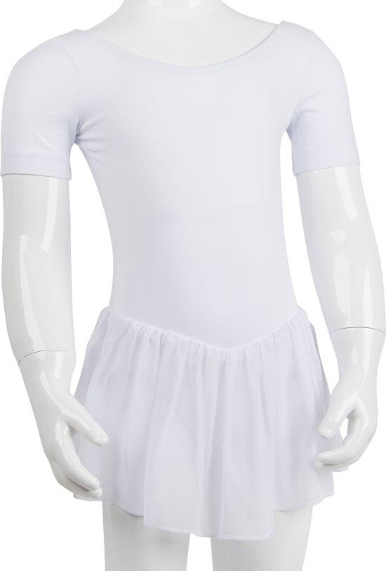 Balletpakje met Rokje R3040 dans sport fitness gymnastiek- wit - maat 140