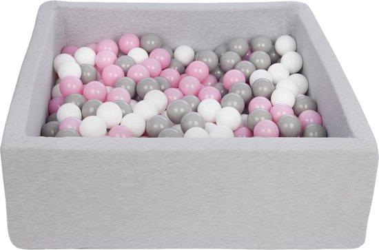 Ballenbak - stevige ballenbad - 90x90 cm - 300 ballen Ø 7 cm - wit, roze, grijs.
