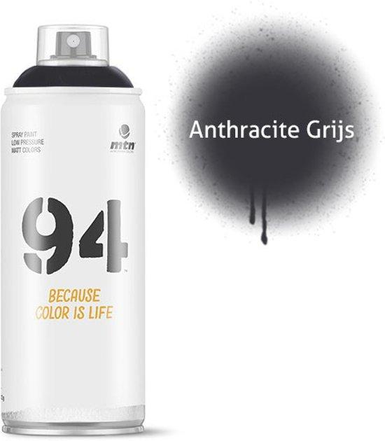 MTN94 Antraciet grijze spuitbus - 400ml lage druk en matte afwerking spuitverf - Graffiti verf voor vele doeleinden zoals voor diy, klussen, graffiti, hobby en kunst
