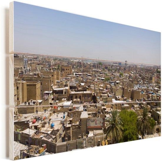 Uitzicht over Bagdad in Irak Vurenhout met planken 90x60 cm - Foto print op Hout (Wanddecoratie)