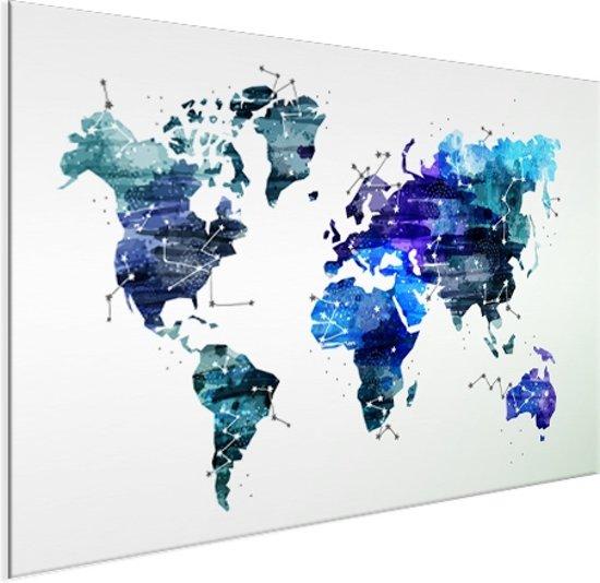 Wereldkaart sterrenhemel Aluminium 90x60 cm