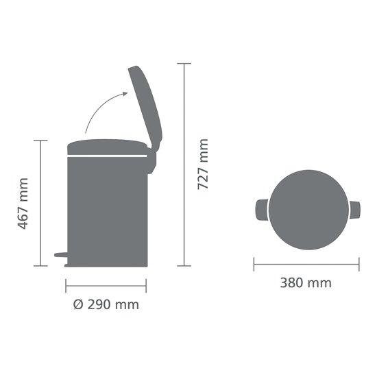 Brabantia NewIcon Pedaalemmer 20 Liter Metallic Mint