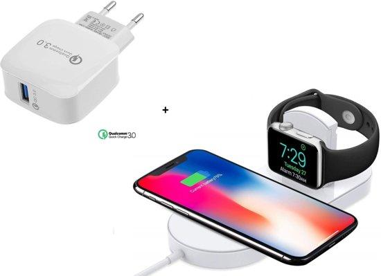 DrPhone Luxe Wireless Dock - Bureaulader -iPhone 7,5W + iWatch Oplader 2W - Geschikt voor - Apple Watch 4 / 3 / 2 / iPhone X / XS Max / XR / 8 / Plus / S10 / S9 - Airpower - Qi Apple Watch Docking Station Qi Lader + DrPhone 18W Thuislader  - Wit