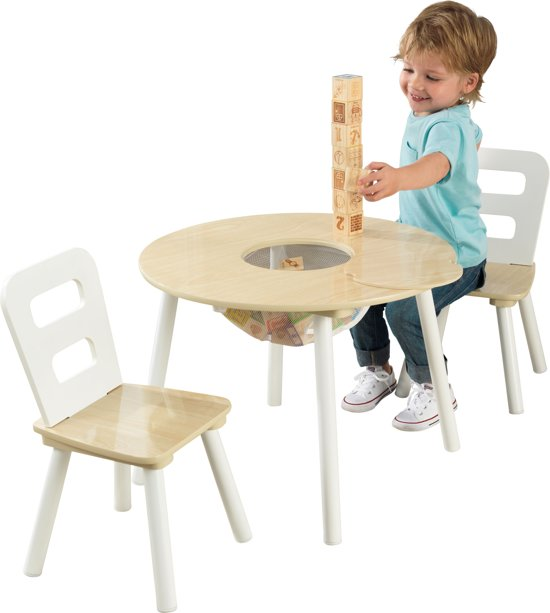 kidkraft set met ronde opbergtafel en 2 stoelen naturel en wit. Black Bedroom Furniture Sets. Home Design Ideas