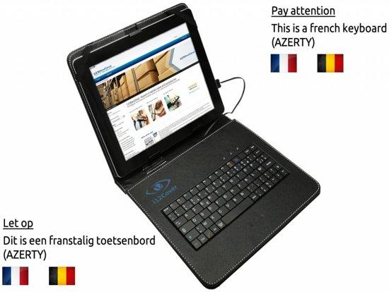 Belgi�: universeel 9.7 inch Azerty Klavier Keyboard Case, hoes met Belgisch usb toetsenbord (+cover), zwart , merk i12Cover in Homoet