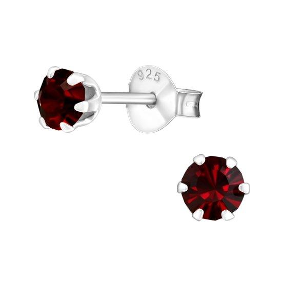 kinder oorbellen rond-kristal-925 zilver-rood-4mm