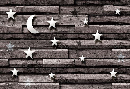 Fotobehang Stars Moon Wood Planks Bedroom   XXL - 206cm x 275cm   130g/m2 Vlies