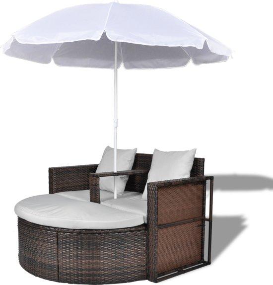 Spiksplinternieuw bol.com | vidaXL - Tuinset 40734 Wicker Loungebed set met parasol GS-17