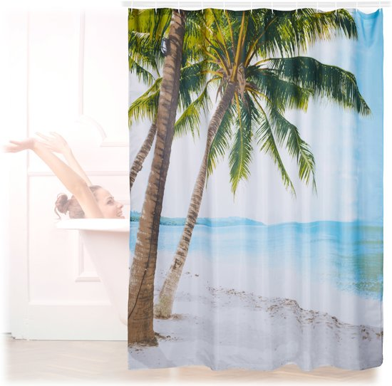 bol.com | relaxdays douchegordijn strand - badkamer gordijn 180 x ...