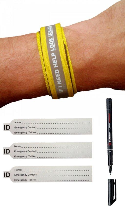 SOS Armband Volwassenen Geel - Reflecterend, inclusief Pen en Reservekaartjes - Naambandje / ID armband / Sport infobandje / Alarmbandje