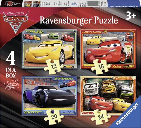 Ravensburger Disney Cars 3 Let's race! 4in1box puzzel - 12+16+20+24 stukjes - kinderpuzzel