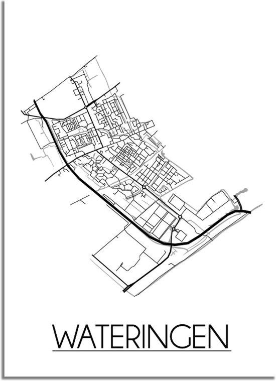 DesignClaud Wateringen Plattegrond poster A2 + Fotolijst zwart