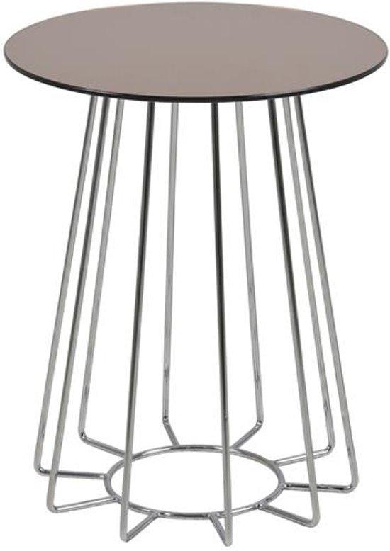 Salontafel Glas Brons.Caja Bijzettafel Glas O 40 Cm Brons
