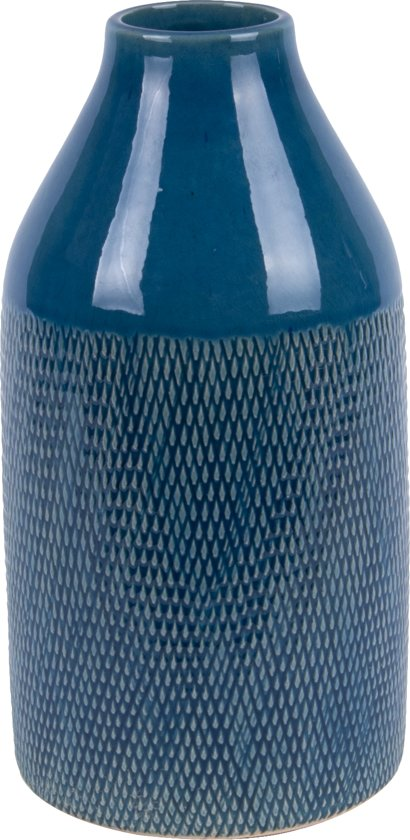 Vase Crackle large ceramic dark blue