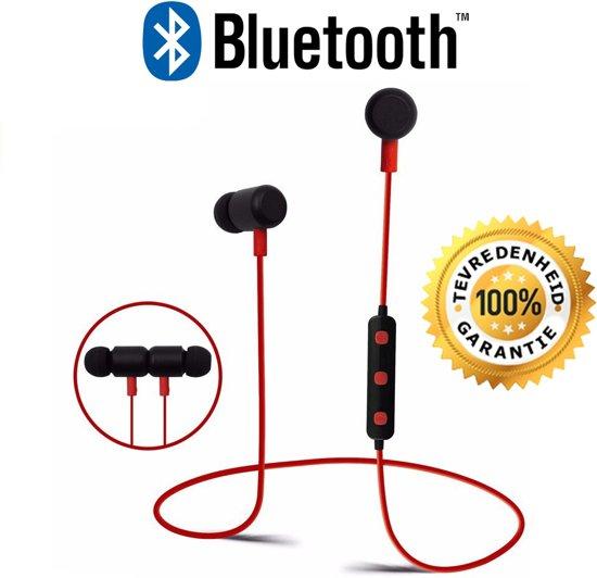 Bluetooth 4.2 In-ear Oortjes - Draadloze Koptelefoon - Wireless Headset - Oortjes - Oortje - Hoofdtelefoon - Oortelefoon - Inear Headphones - Headphone - Draadloos - Sport Headsets - Earbud - Ear-bud - Muziek - Earphones - Rood in Havelt