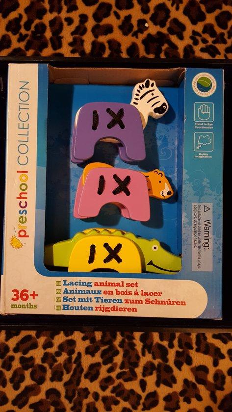 Rijgdieren Houten Set 3 stuks - Hand-Oog-Coördinatie - Vanaf 36 maandenden