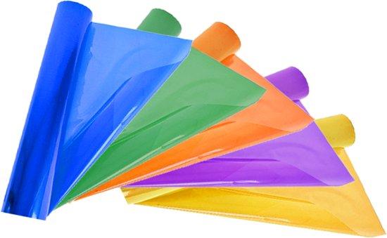 6 Rollen Transparante Folie Assorti Kleur Inpakken Kado 70 X 200cm