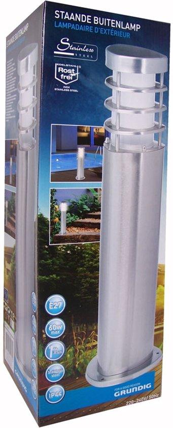 Staande tuinverlichting / buitenlamp GRUNDIG, RVS, Hoogte ca. 38,5 cm.