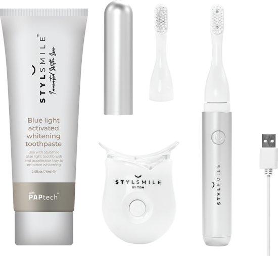 Stylsmile Lighten up!| Elektrische tandenborstel | Tanden bleken door blauw licht technologie en PAPtech tandpasta |  Sonisch poetsen | Vervangt je dagelijkse poetsroutine | Peroxide vrij | Geen UV licht| USB opladen | Goedgekeurd door tandartsen