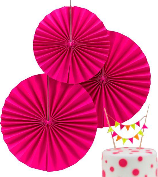 Fan decoratie - Neon Roze (3 stuks) Valentinaa