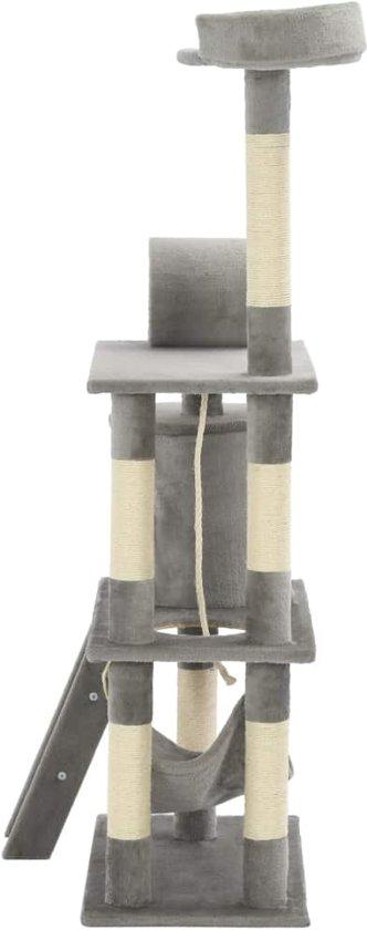 vidaXL Kattenkrabpaal met sisal krabpalen 140 cm grijs