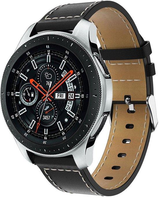 PU Lederen Horloge Band Voor Samsung Galaxy Watch 46 MM - Armband Polsband / Strap / Sportband - Zwart