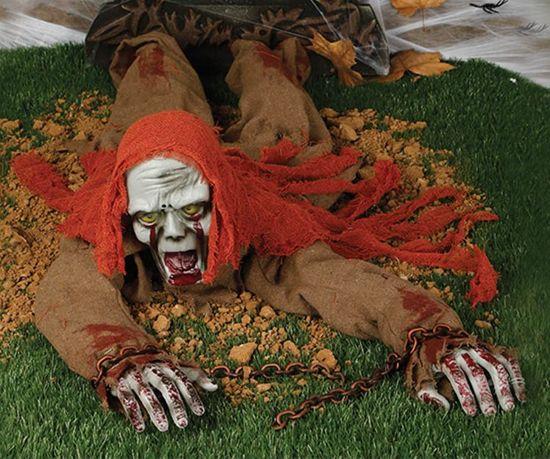 Halloween Pop Kruipende Zombie 120cm met licht, geluid en beweging