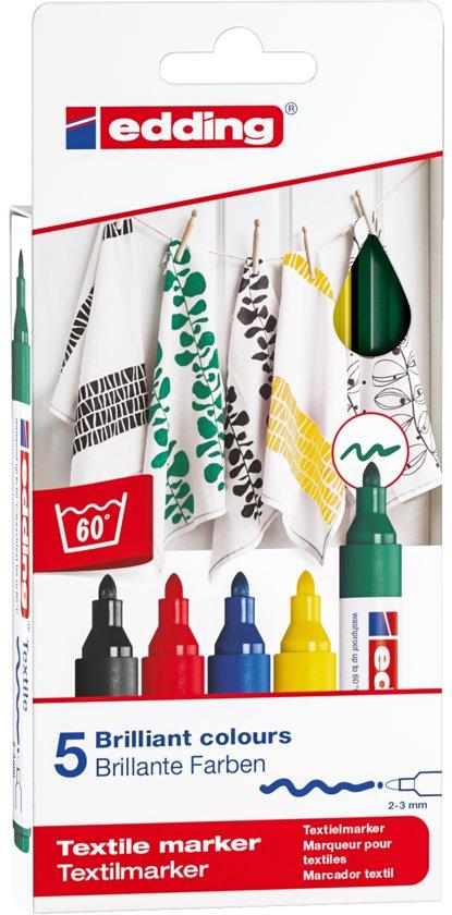 edding 4500 textielmarkers. Set van 5 stuks in diverse kleuren.