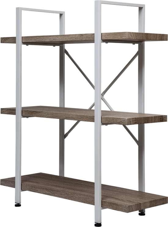 Wandkast Stoer Metaal Hout Industrieel Design Open Boekenkast 101 Cm Hoog Wit