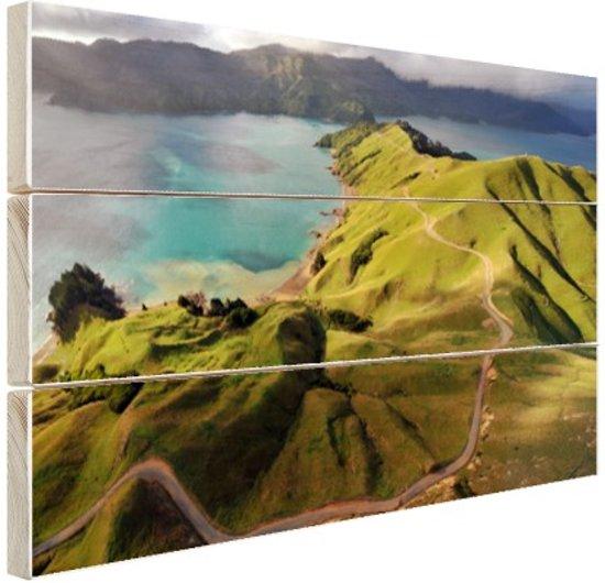 Luchtfoto Marlborough Sounds Hout 80x60 cm - Foto print op Hout (Wanddecoratie) / Zee en Strand