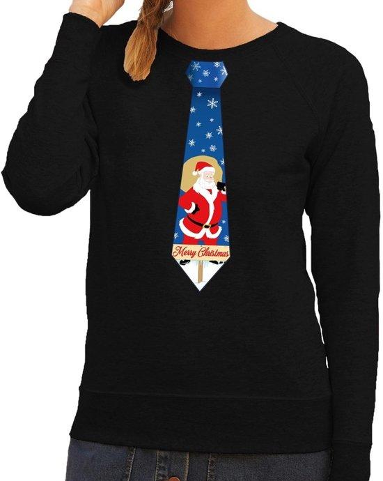 Foute kersttrui / sweater stropdas met kerstman print zwart voor dames S (36)