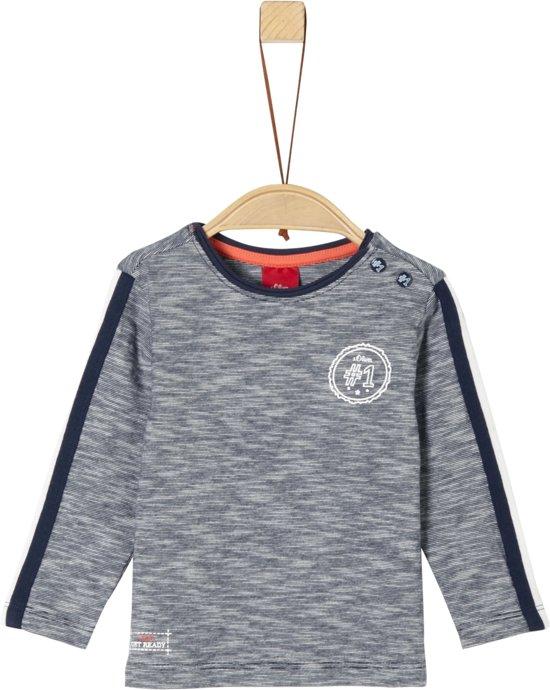 7e961f39300c5e S Oliver Unisex T-Shirt lange mouw - donkerblauw - Maat 68