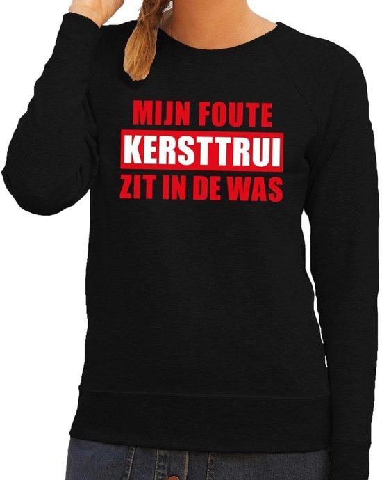 Foute kersttrui / sweater - zwart - Mijn Foute Kersttrui Zit In De Was voor dames M (38)