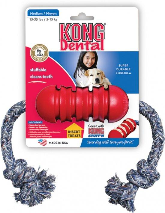 Kong dental met touw S - Touw - 432mm x 166mm x 26mm - Zwart