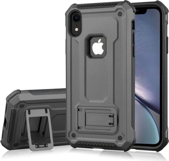 Let op type!! Schokbestendige PC + TPU Armor beschermende case voor iPhone XR  met houder (grijs)