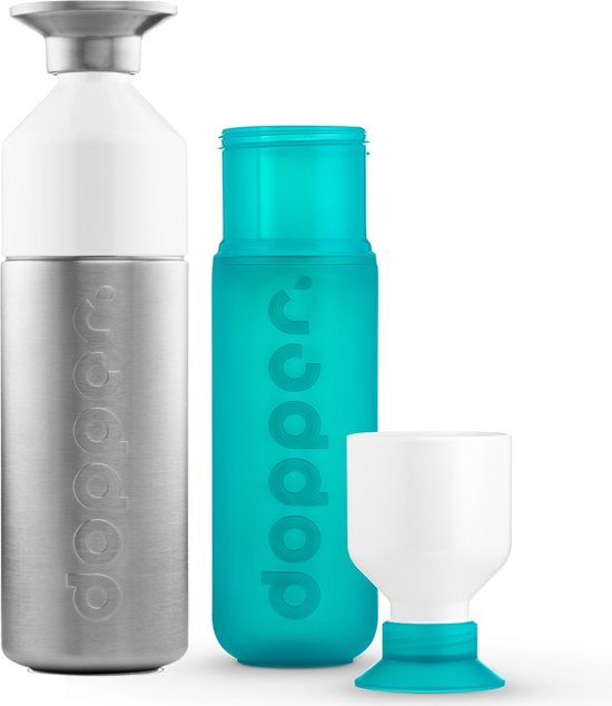 Dopper Original Drinkfles - 800 + 450 ml - Steel & Sea Green - 2 stuks