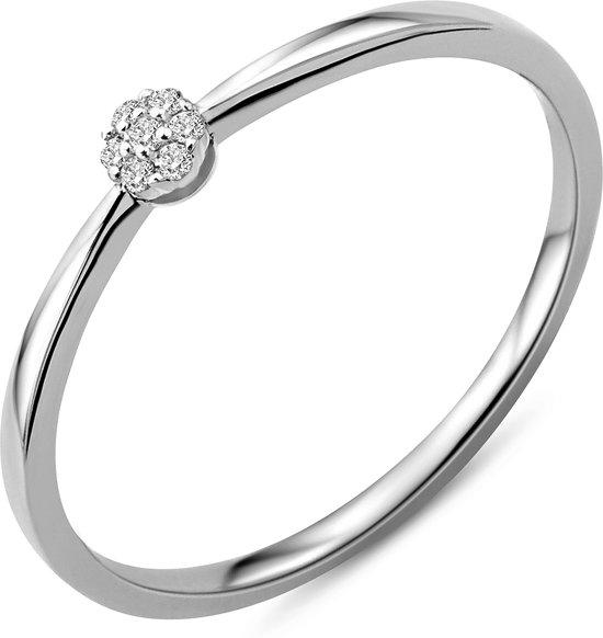 Majestine 9 Karaat Ring Witgoudkleurig (375) Met Diamant 0.03ct Maat 54